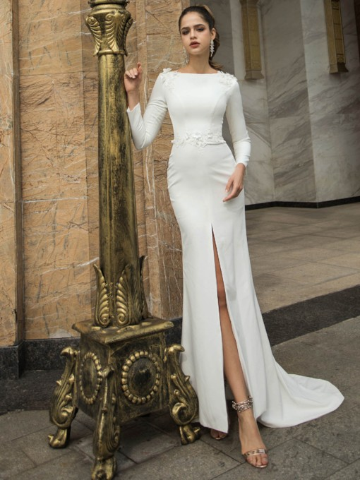 Split-Front Appliques Long Sleeves Wedding Dress 2020