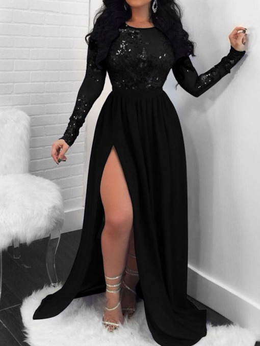 Round Neck Sequins Floor-Length Long Sleeve Regular Women's Dress