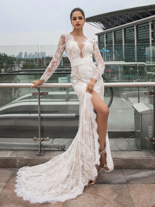 Mermaid Sashes Long Sleeves Lace Wedding Dress 2020