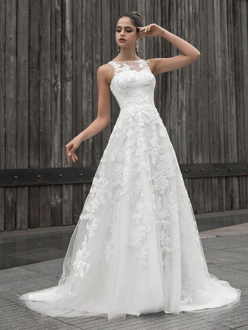 Button Bateau Neck Lace Appliques Wedding Dress 2020