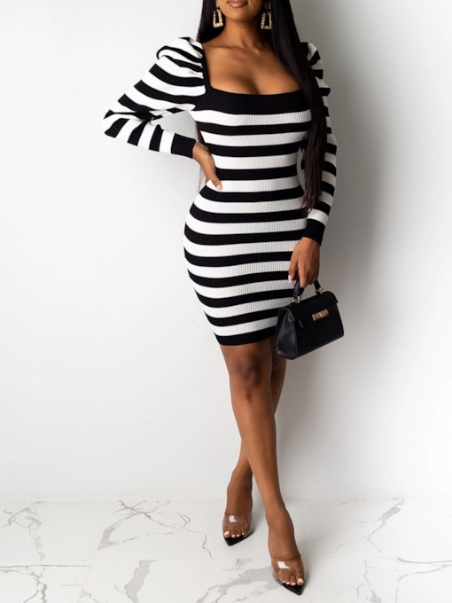 Square Neck Above Knee Pleated Long Sleeve Fall Women's Dress