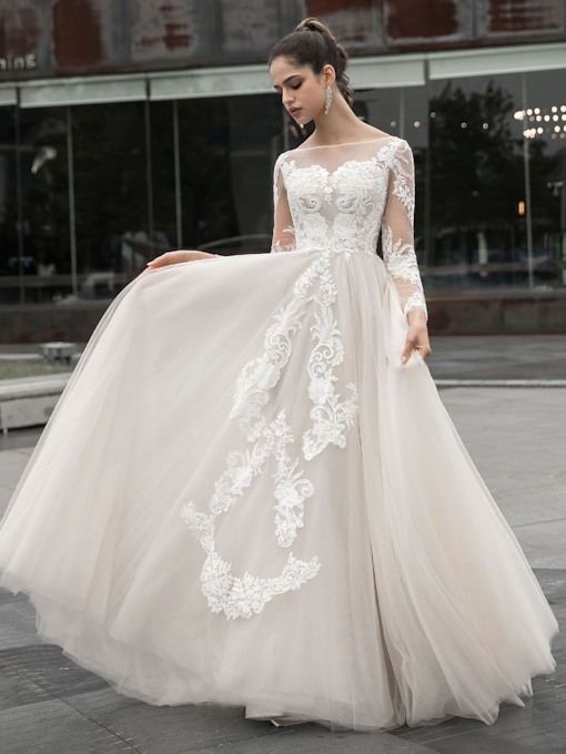 Bateau Neck Appliques Long Sleeves Wedding Dress 2020
