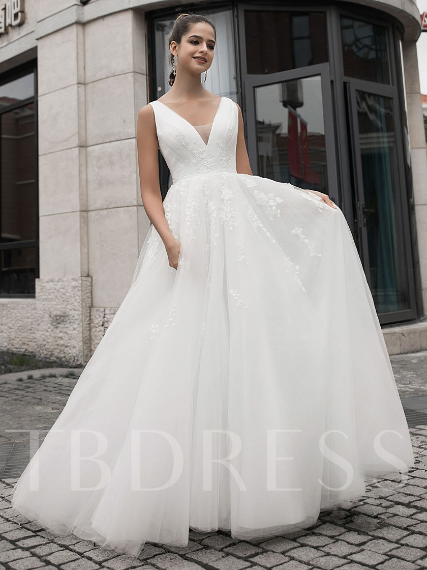 A-Line V-Neck Appliques Wedding Dress 2020