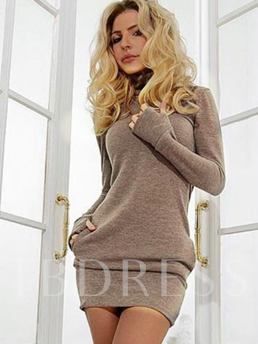 Patchwork Bodycon Plain Women's Long Sleeve Dress