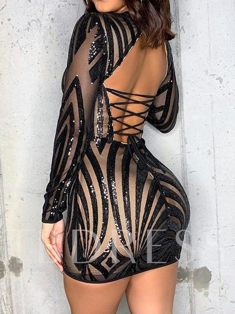 Round Neck Long Sleeve Above Knee Lace-Up Sexy Women's Dress