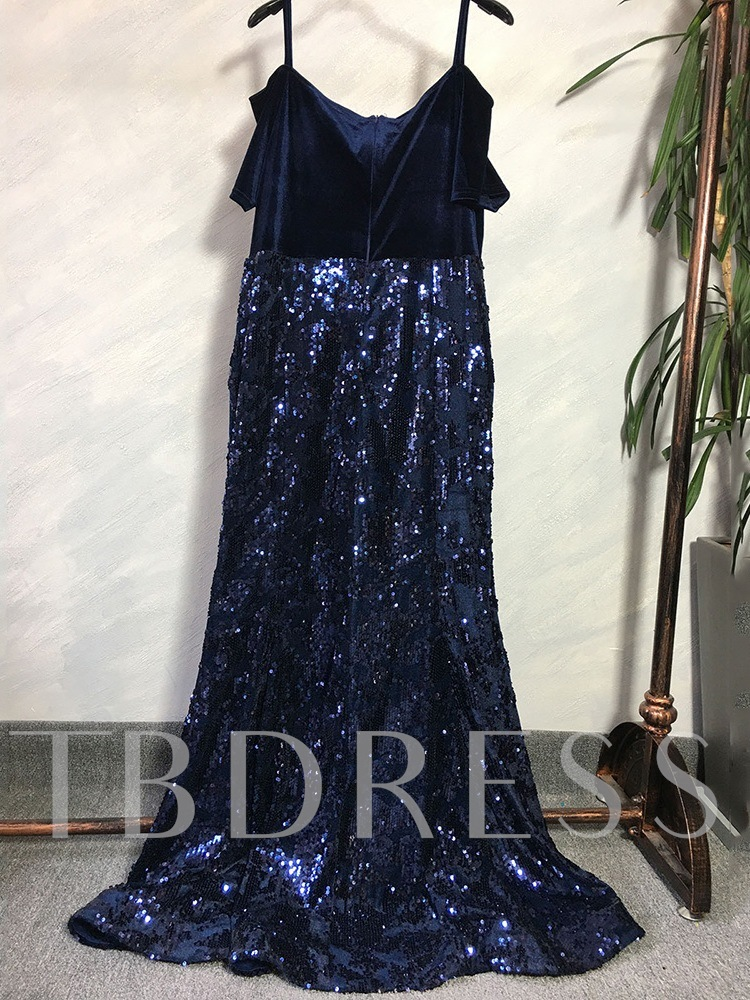 Floor-Length Short Sleeve Off Shoulder Sequins Dress Women's Dress