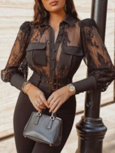 Lapel Black Sexy Lace Plain Standard Women's Blouse