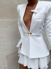 Fashion Plain Double-Breasted Office Lady Women's Two Piece Sets