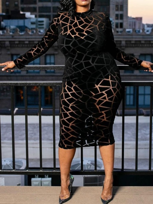 See-Through Long Sleeve Round Neck Mid-Calf Geometric Women's Dress
