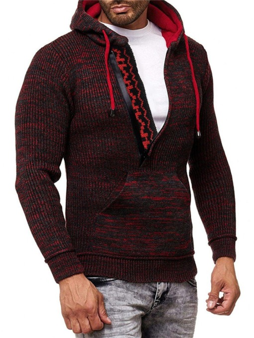 Patchwork Hooded Color Block Sports Men's Sweater