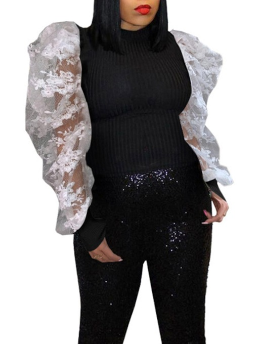 Puff Sleeve Lace Patchwork Long Sleeve Women's Blouse
