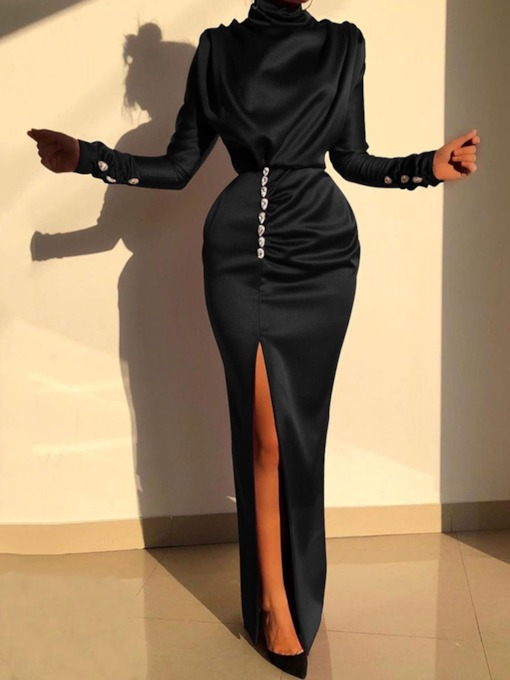 Diamond Floor-Length Turtleneck Long Sleeve Plain Women's Dress