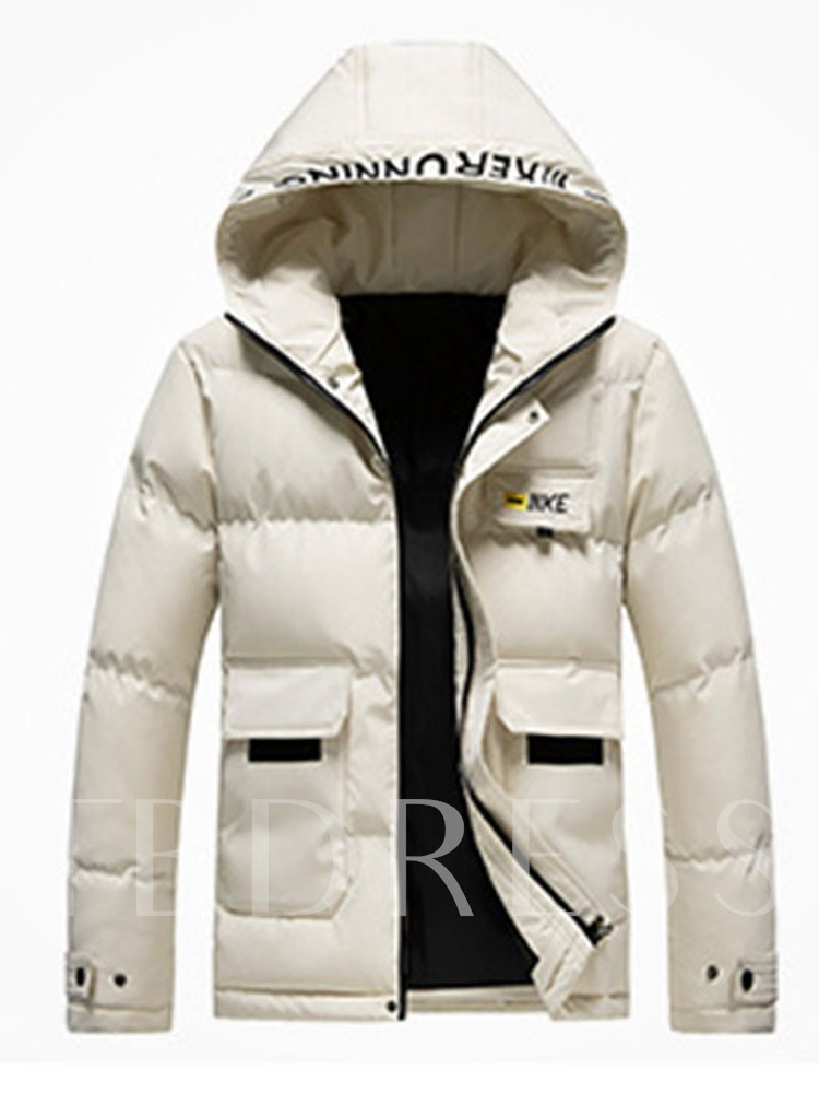 Pocket Hooded Style European Men's Down Jacket