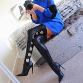 Customized Stiletto Heel Slip-On Pointed Toe Thigh High Boots