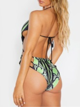 Color Block One Piece Sexy Print Lace-Up Women's Swimwear