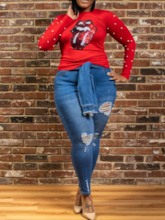 Plus Size Ugly Christmas African Standard Long Sleeve Casual Women's T-Shirt