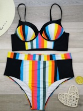 Plus Size Color Block Print Tankini Set sexy Damen Bademode