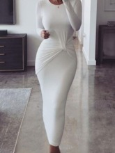 Round Neck Mid-Calf Pleated Long Sleeve Pullover Women's Dress