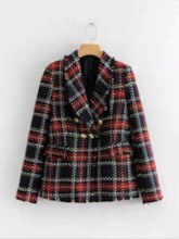 Fashion Double-Breasted Plaid Standard Women's Casual Blazer