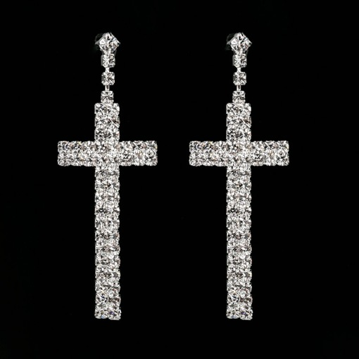 Rhinestone Romantic Diamante Cross Drop Earrings