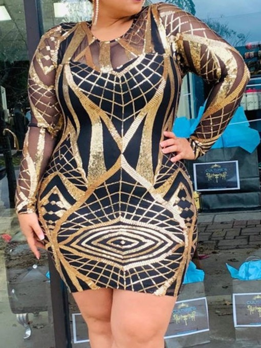 Plus Size Long Sleeve Above Knee Round Neck Sequins Spring Women's Dress