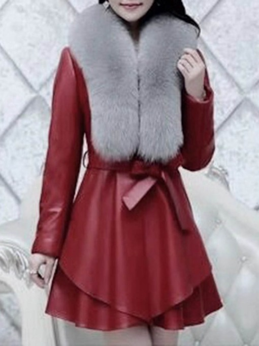Faux Fur Lace-Up Regular A Line Patchwork Mid-Length Women's Overcoat