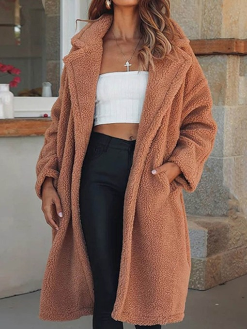 Fleece Fuzzy Faux Shearling Loose Qversize Long Women's Coat