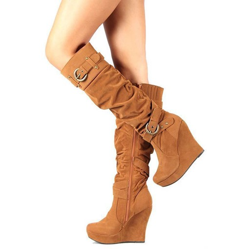 Customized Side Zipper Plain Round Toe Wedge Heel Knee High Boots