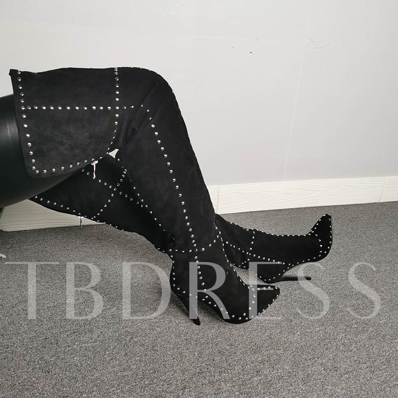Customized Patchwork Stiletto Heel Back Zip Thigh High Boots