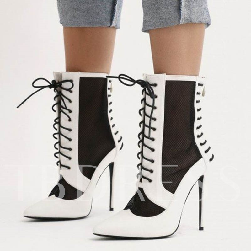 Customized Stiletto Heel Color Block Lace-Up Front Pointed Ankle Boots