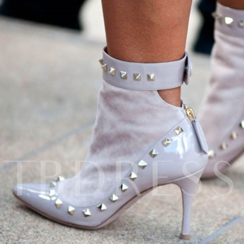 Customized Pointed Toe Plain Spool Heel Back Zip Sexy Boots