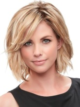 Women's Short Layered Hairstyles Side Part Blonde Natural Straight Human Hair Lace Front Wigs 12Inch