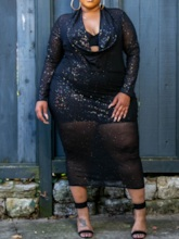 Plus Size Mid-Calf See-Through Long Sleeve Pullover Women's Dress