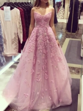 Strapless Appliques A-Line Sleeveless Prom Dress 2020