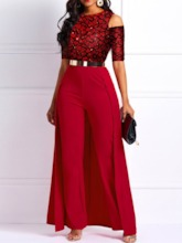 Office Lady Floral Full Length Swallowtail Slim Women's Jumpsuit