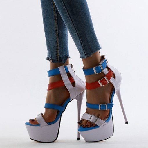 Open Toe Heel Covering Stiletto Heel Buckle Sexy Sandals
