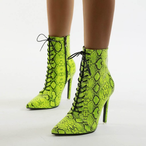 Neon Pointed Toe Stiletto Heel Side Zipper Booties