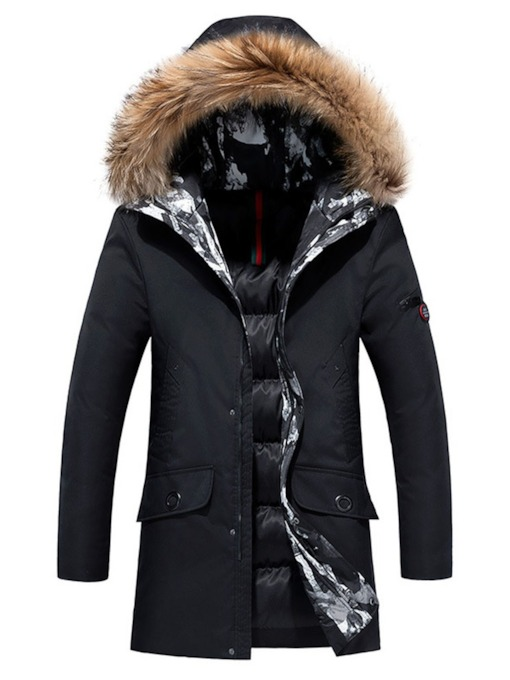 Mid-Length Hooded Zipper Style Casual Men's Down Jacket
