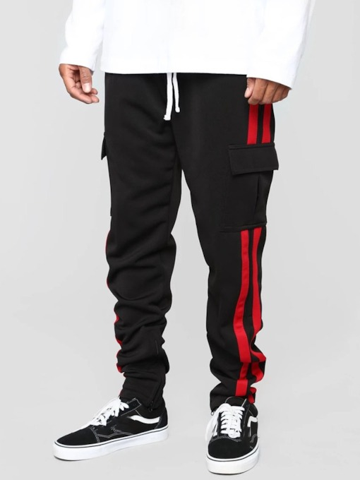 Color Block Pocketed Mid Waist Men's Casual Pants