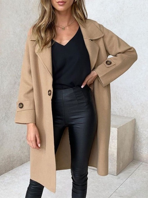Lapel Casual One Button Loose Regular Long Women's Overcoat