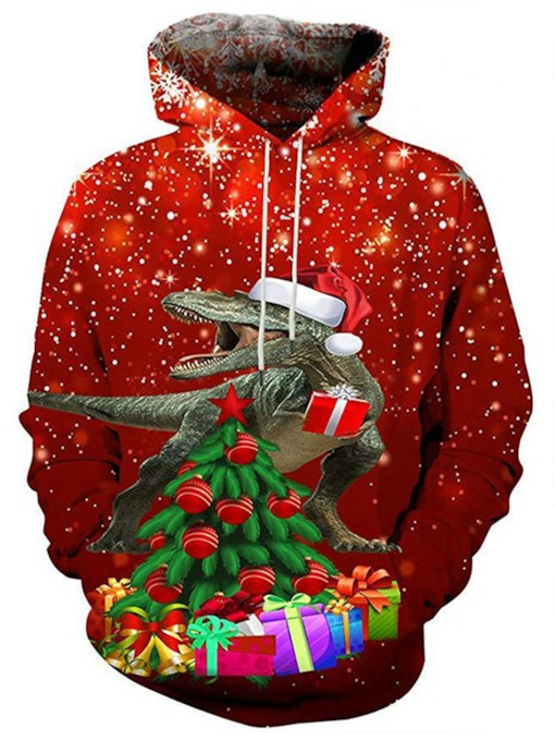 Christmas Animal Printed Casual Men's Hoodies