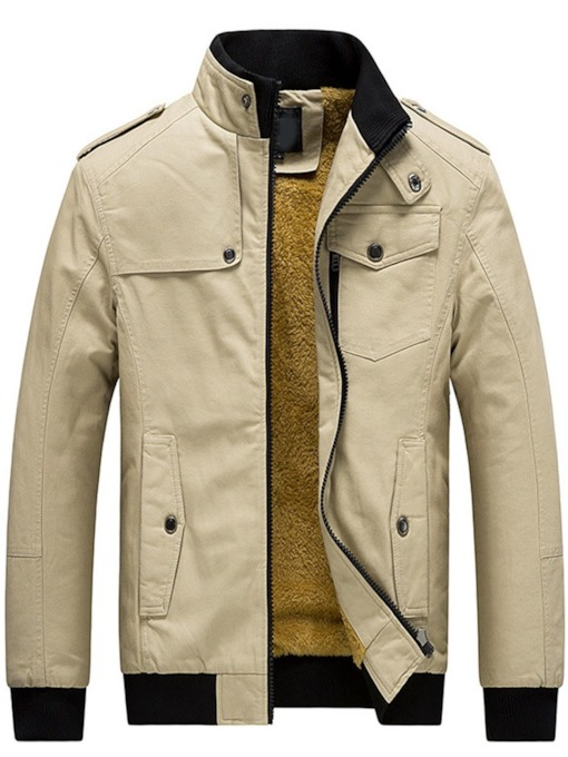 Color Block Lapel Patchwork Casual Men's Jacket