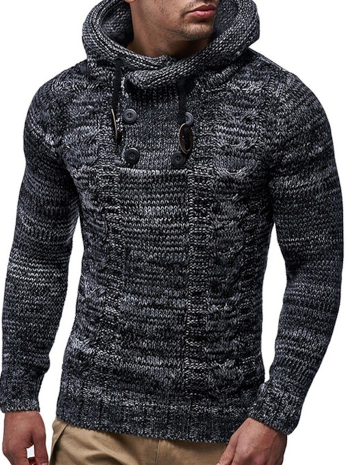 Color Block Hooded Slim Style Men's Sweater