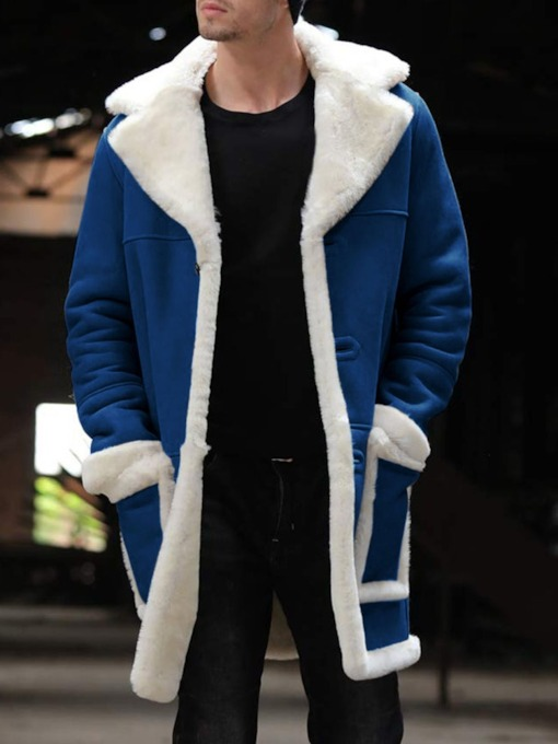 Mid-Length Pocket Color Block Winter Men's Coat