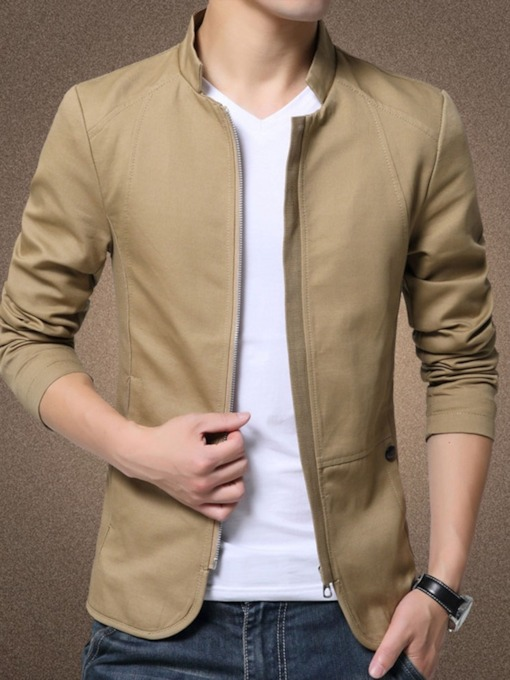 Thick Zipper Lapel Plain Casual Style Men's Jacket