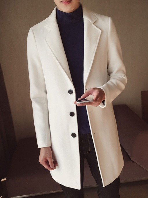 Plain Color Lapel Mid-Length Button Korean Men's Coat