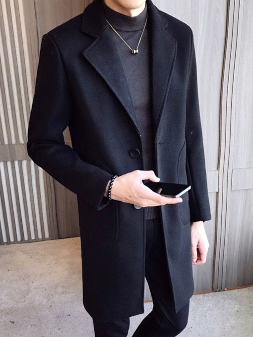 Plain Color Button Mid-Length A Line Style Men's Coat