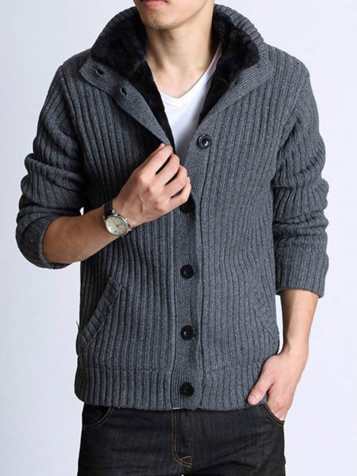 Cardigan Stand Collar Warm Solid Color Slim Knit Men's Sweater