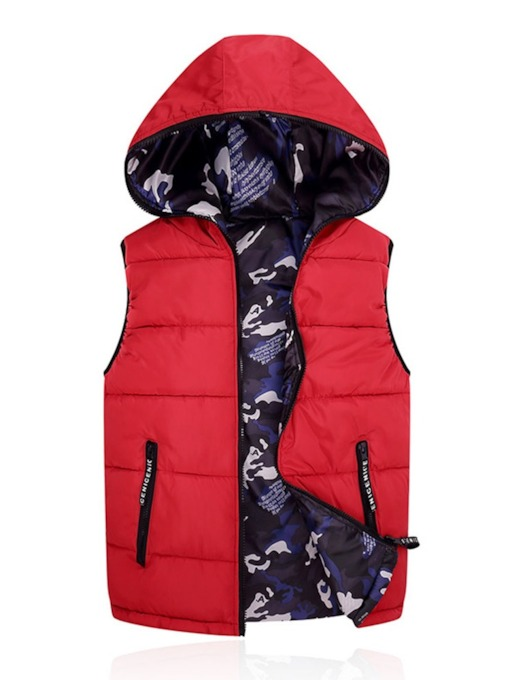 Hooded Thick Camouflage Patchwork Korean Men's Waistcoat