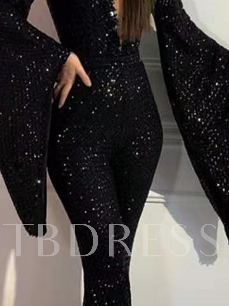Sequin Full Length Plain Sexy Slim Women's Jumpsuit